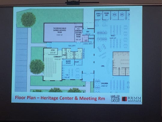 An architectural rendering of the floorplan of the new Eastern Shore Pubic Library to be constructed in Parksley, Virginia.