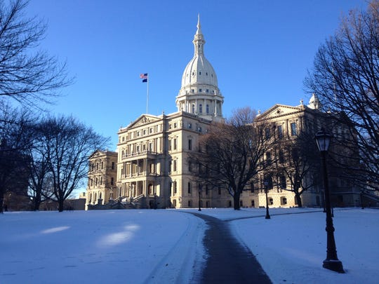 The Michigan state Capitol in winter.