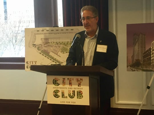 Developer Jonathan Holtzman outlined his vision for the City Club Apartments CBD at the David Whitney Building on Jan. 11, 2018.