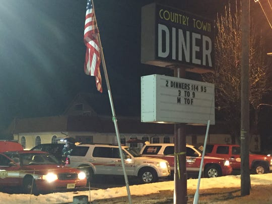 Fire vehicles line up outside the Country Town Diner in Berlin Borough on Jan. 10.