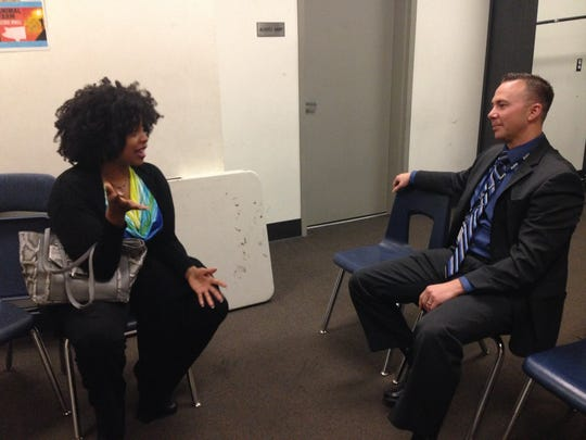 "Stacy Jewell, a survivor of human trafficking, and Simi Valley Police Detective Kyle Crocker chat before the panel discussion portion of ""I Will Not Be Sold,"" presented earlier this week by Soroptimist International of Simi Valley at Santa Susana High School."
