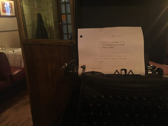 One of Erin Britt Morrow's type writers with some of her thoughts typed on the page.