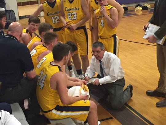 Lancaster coach Kent Riggs gives instructions to his