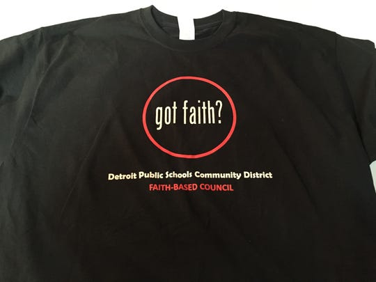 A t-shirt handed out to people who attended an event to encourage connections between Detroit schools and the faith-based community.