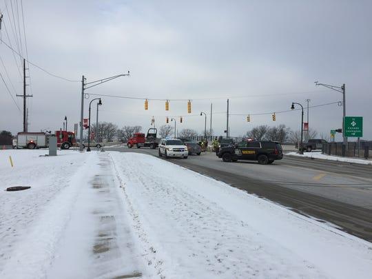Traffic is slowed on Water Street following a crash