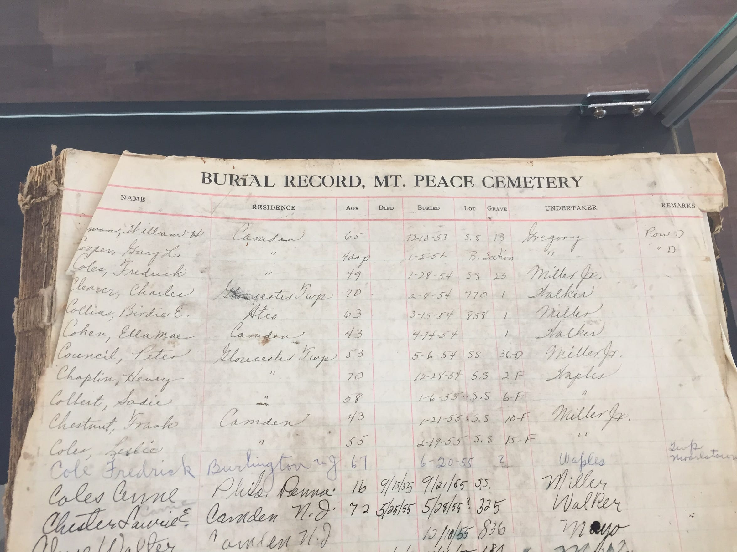 A burial register from Lawnside's Mount Peace Cemetery might help families find information that wasn't recorded elsewhere. It's among the artifacts on display at the Camden County Historical Society.