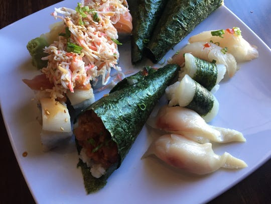 At Cove Sushi, this version of a three-roll plate combines