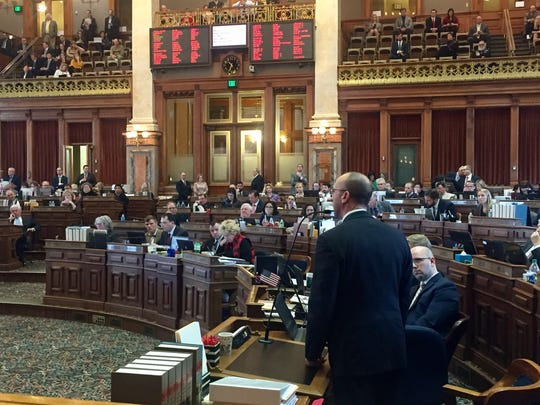 Rep. Chip Baltimore, R-Boone, argues against passage of a water quality bill on the House floor.