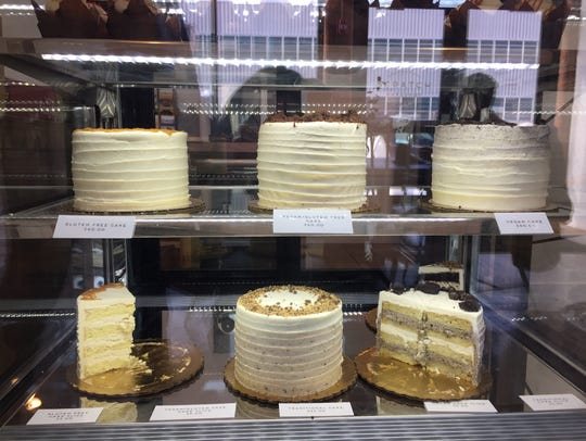 The cake case at Scratch Bakeshop on Russell Street.