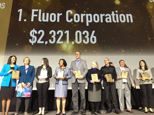 Fluor Corp. in Greenville donated more than $2.3 million
