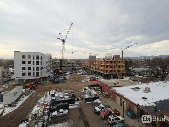 Time-lapse image of construction progress on downtown Loveland's redevelopment project The Foundry at about 10 a.m. Jan. 25, 2018.