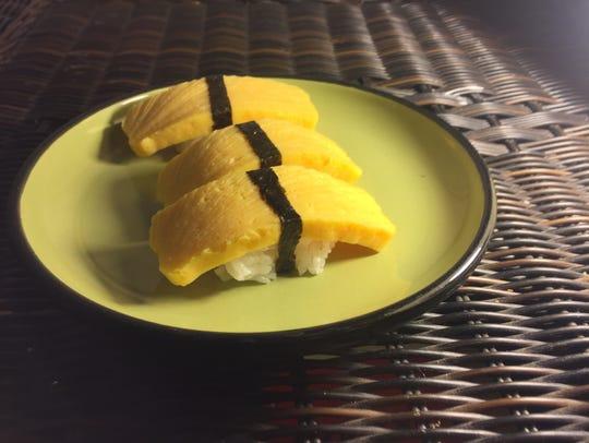Tamago nigiri from Soseki Cafe in Iowa City is shown