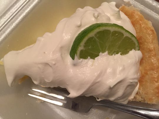 The homemade key lime pie at Feby's Fishery in Wilmington