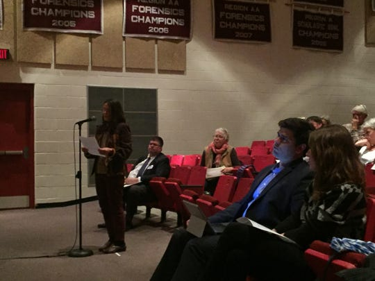 Miriam Riggs speaks during a public hearing held in Onley, Virginia on Tuesday, Jan. 30, 2018. The Virginia Department of Environmental Quality held the hearing to receive comment about discharge permits for three Accomack County poultry farms.