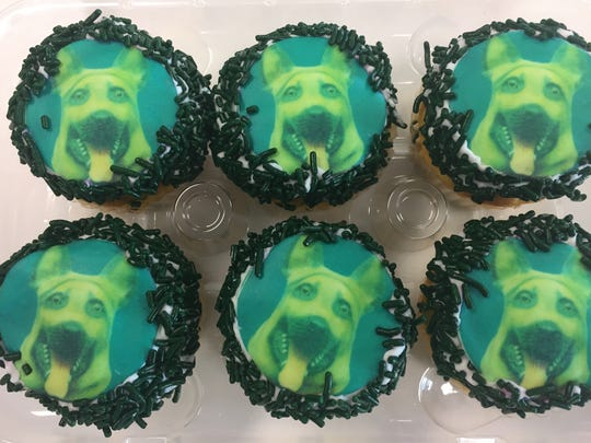 Who let the dogs out? Cupcakes ($1.65 each) decorated with German shepherd faces - celebrating the Eagles' underdog status - are a popular item at Serpe's bakery in Elsmere.