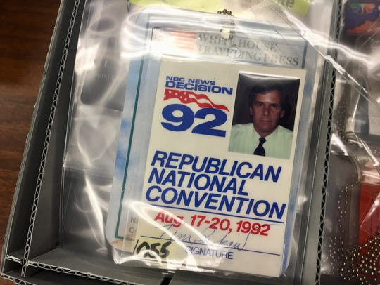 A press badge from Tom Brokaw's donated archive are