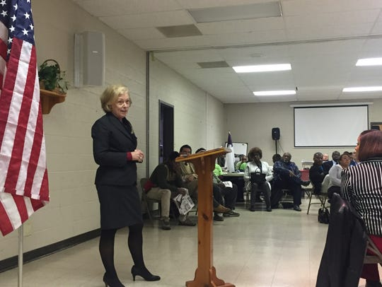 Kathleen Airhart, the interim superintendent of the state-run Achievement School District, speaks during a Frayser Exchange community meeting in Memphis.