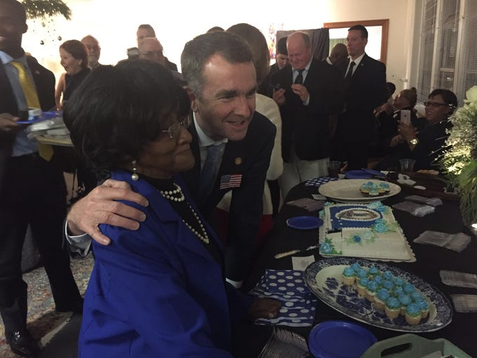Gov. Ralph Northam poses with Dorothy Cropper, 88,