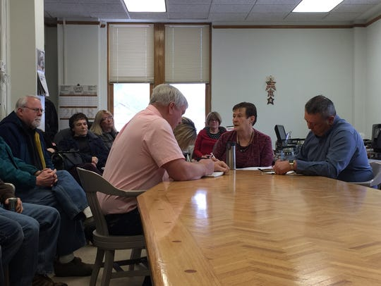 Pondera County commissioners, from left, Dale Siefert, Janice Hoppes and Tom Kuka, at a Feb. 7 meeting in Conrad.