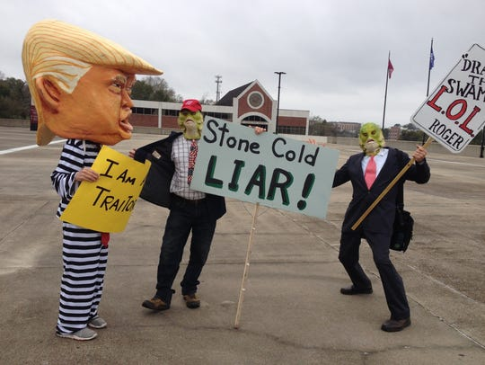Protesters greeted Roger Stone at the Civic Center