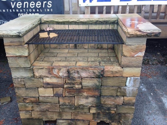 This stone-veneer outdoor grill is just one of the
