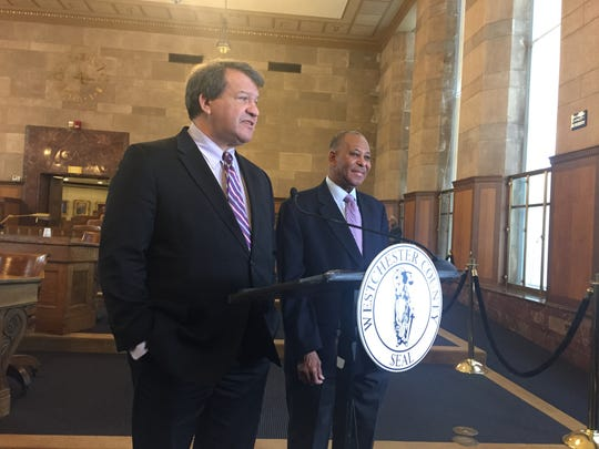 Westchester County Executive George Latimer and Board of Legislators Chairman Ben Boykin speak with reporters at a news conference in the legislature chambers on Feb. 9, 2018. The two announced the State of the County would return to legislature chambers for the first time since 2011.