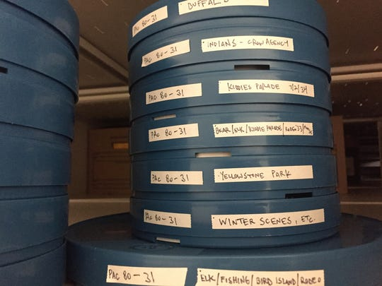 A stack of films in the new film archive at the Montana