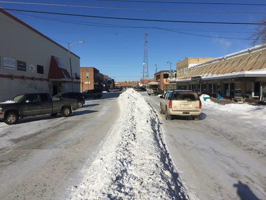 Snow in Havre is being pushed to the middle of streets