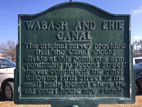 Wabash and Erie Canal historical marker.