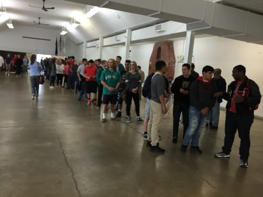 Jefferson High School students flood the polls Tuesday at the Tippecanoe County Fairgrounds. Jefferson High School students flood the polls Tuesday at the Tippecanoe County Fairgrounds.