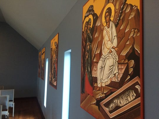 The icon depicting Jesus' empty tomb is one of a dozen