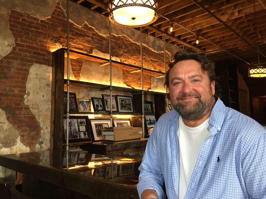Fat Dan's Deli owner Dan Jarman sits at the Geraldine's bar, under  vintage lamps and in front of black-and-white photos of Rat Pack icons like Dean Martin. The classic supper club and lounge offering a steakhouse menu opens in spring 2018 in Indianapolis' Fountain Square neighborhood.