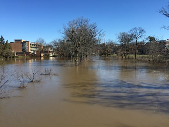 Water from the Red Cedar River covers sidewalks behind