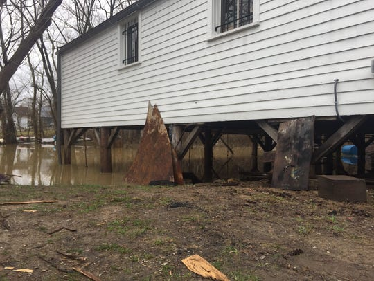 The Ohio River encroached on Rabbit Hash on Friday,