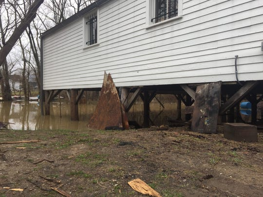 The Ohio River encroached on Rabbit Hash on Friday, but that's not new to the residents of the small town.  Water is still a few feet from the bottom of the General store.