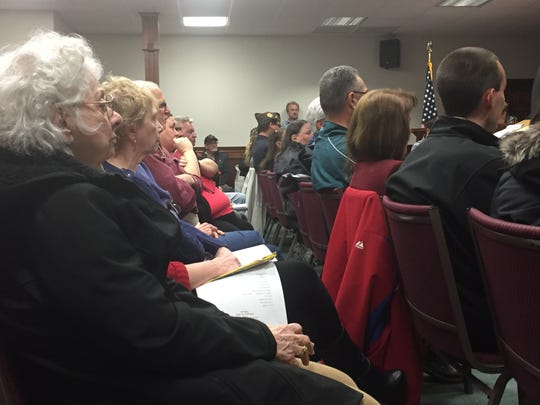 Almost 100 residents on Thursday heard a proposal for a veterans' housing complex at a meeting of Stratford's Joint Land Use Board.