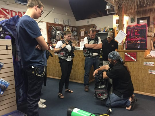 Students in training at the Doña Ana Divers shop, located