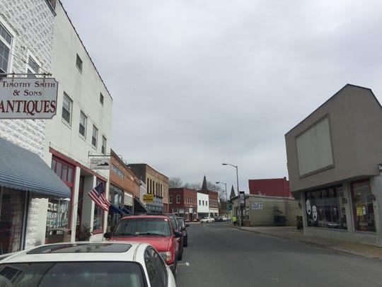 Businesses and North Street Playhouse line Market Street in Onancock, Virginia on Wednesday, Feb. 28, 2018.
