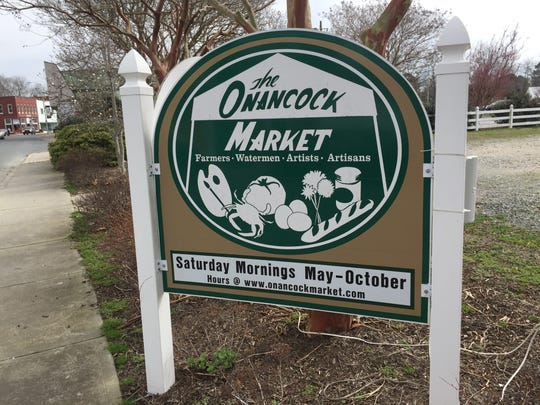 A sign for the Onancock Market on Market Street in