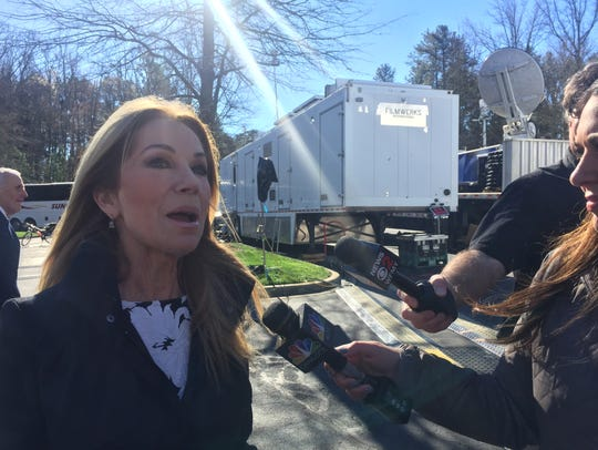 Kathie Lee Gifford speaks to the media at Billy Graham's