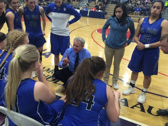 St. Paul girls basketball coach Dave Matlock addresses