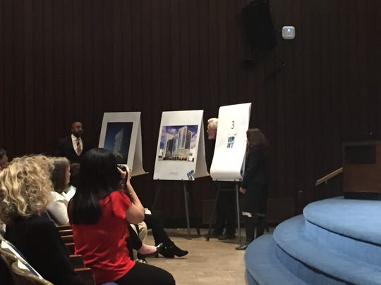 New Rochelle Councilmen Jared Rice and Ivar Hyden unveil a couple of the city's new developments at the State of the City address on March 1.