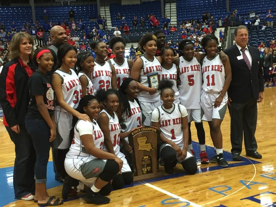 The North Caddo Lady Rebels pose with their championship