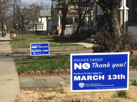 Two signs opposing a Collingswood school proposal are planted outside a Collings Road home.