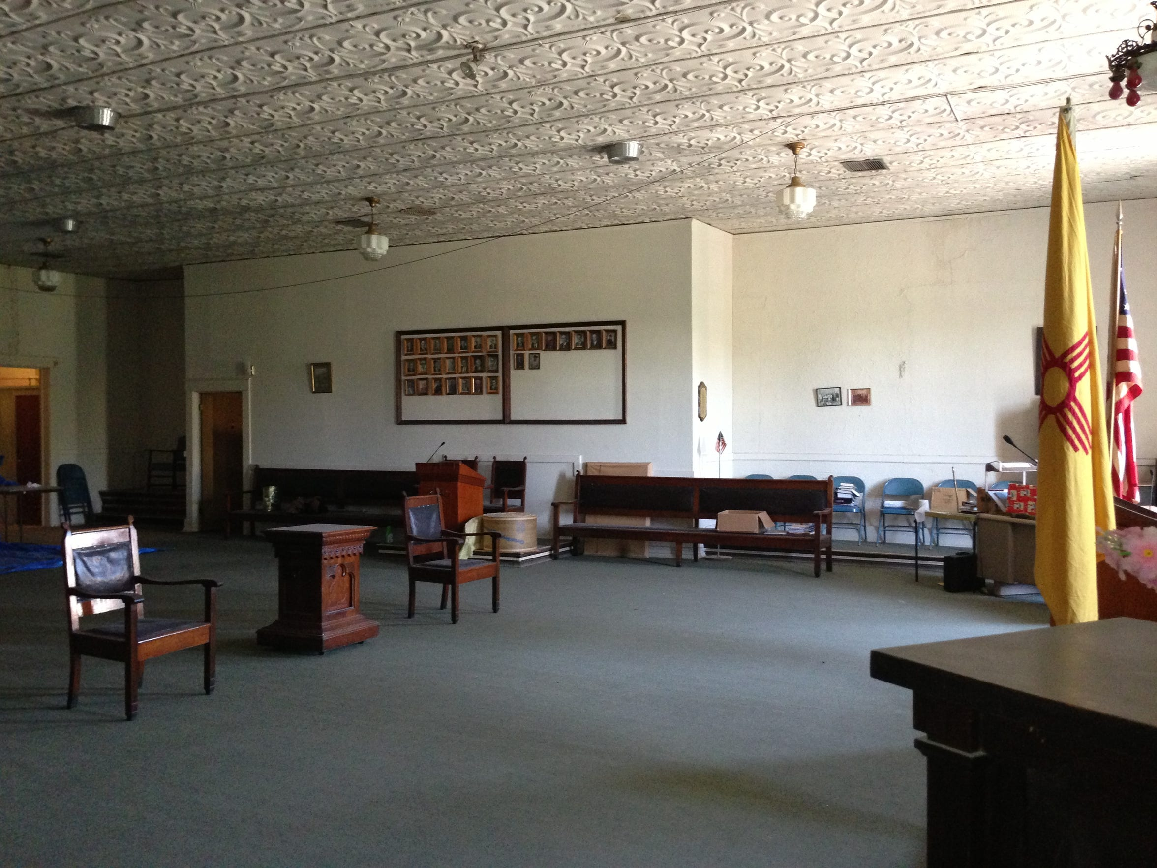 The main meeting room in the former Odd Fellows lodge