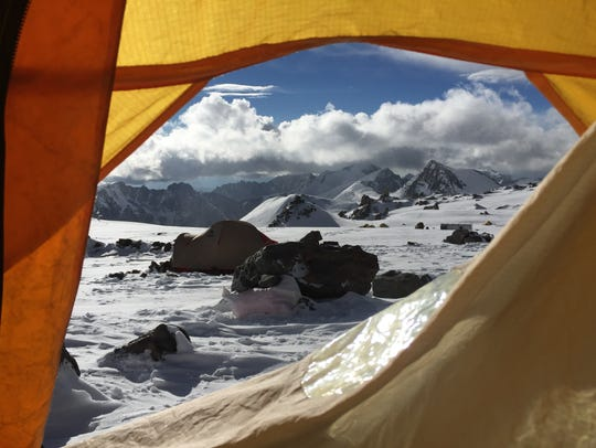 Snow covers Aconcagua outside a higher camp on the