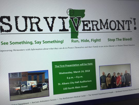 SURVIVermont's webpage, shown here on March 8, 2018,