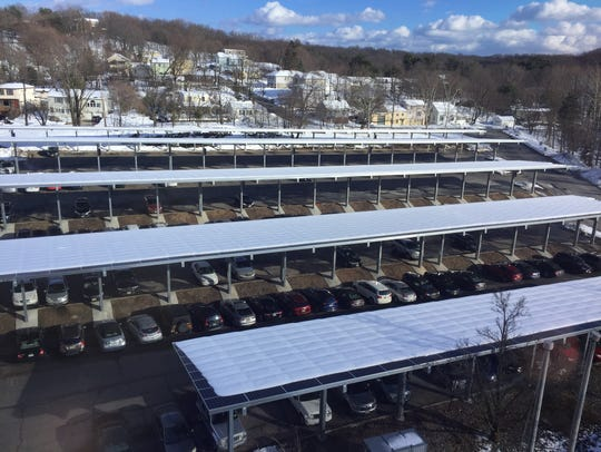 The solar panel canopy project in Woodland Park, here