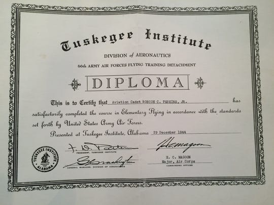 Tuskegee Airman Roscoe C. Perkins' diploma from the
