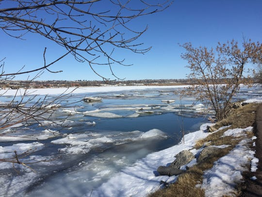 Ice on the Missouri River is beginning to loosen as